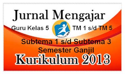 Jurnal Mengajar Guru Kelas 5 Tema 1 s/d Tema 5 Subtema 1- 3 K-2013
