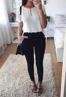 White shirt with black jeans