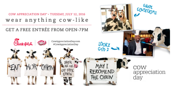Denver mommy july 2016 cow appreciation day at chick fil a today 712 get a free entree fandeluxe Images