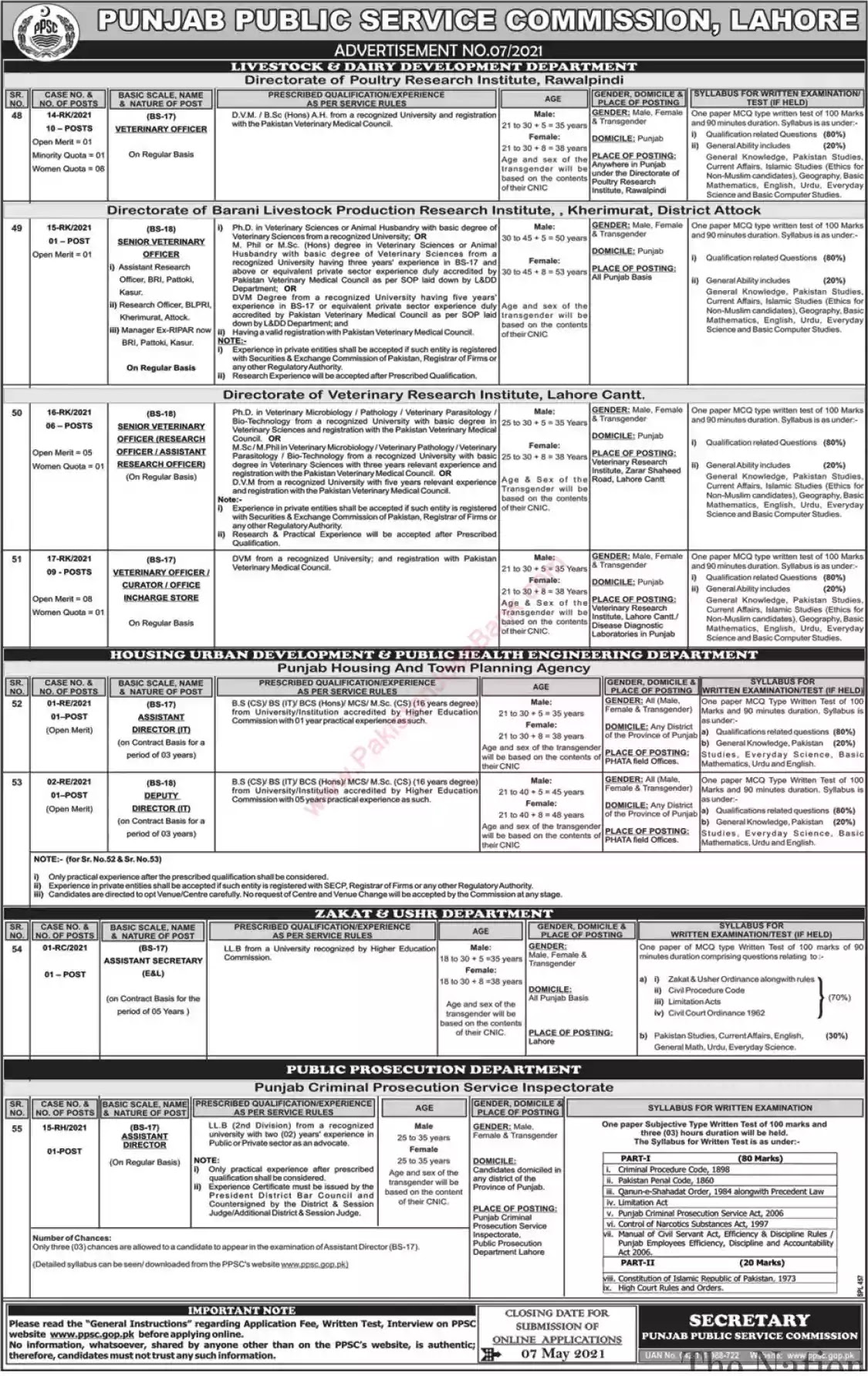 New Jobs in Pakistan Punjab Public Service Commission Lahore Jobs 2021 | Apply Online