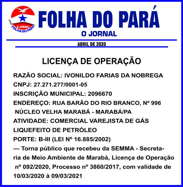 PUBLICAÇÃO/MARABÁ-PA -- LICENÇA DE OPERAÇÃO - IVONILDO FARIAS DA NOBREGA