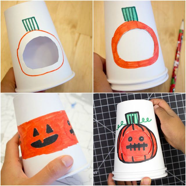 Super Cute Halloween Changing Paper Cup Faces- Such a fun craft for kids showcasing the full range of emotions