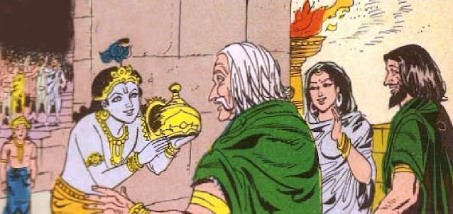 Krishna crowning Ugrasena