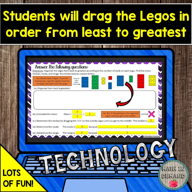 Mean, Median, Mode, and Range Lego Activity in Google Slides Distance Learning