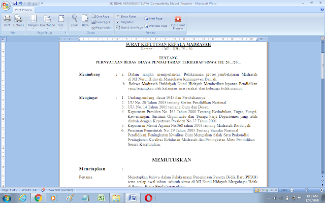 SK pernyataan bebas biaya pendaftaran siswa baru