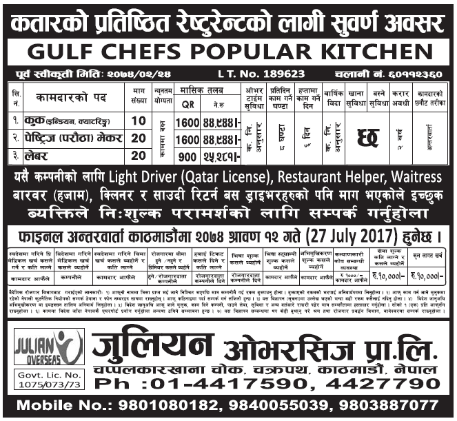 Jobs in Qatar for Nepali, Salary Rs 44,944