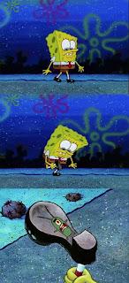 Polosan meme spongebob dan patrick 103 - spongebob menginjak plankton