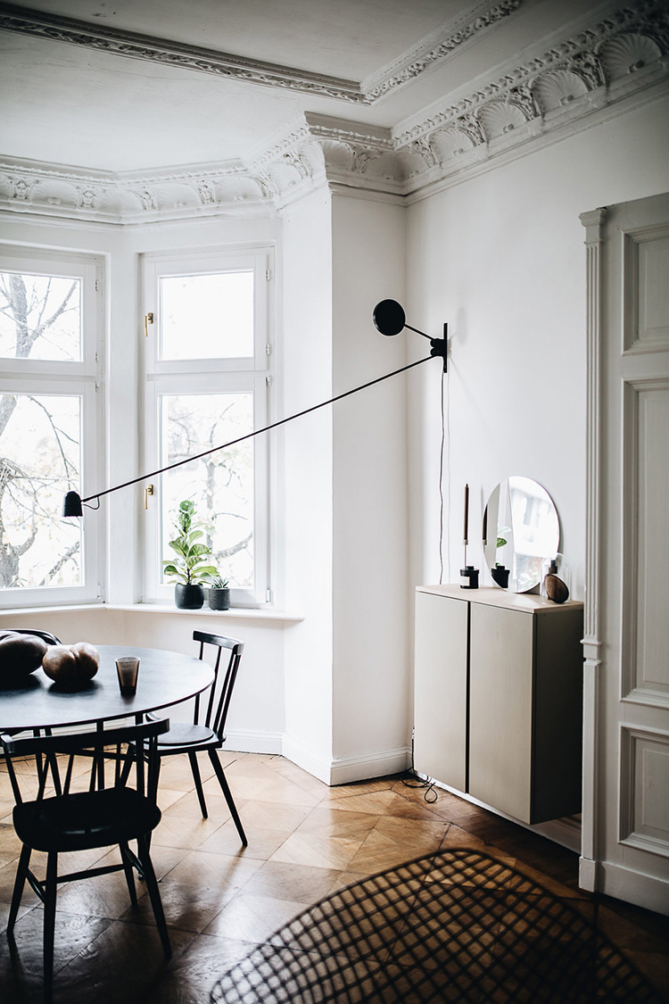 a dining room without a ceiling light