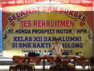 SMK Saktti dan Honda ; Rekruitmen HONDA Prospek Motor