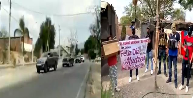 Video: De parte de El Mencho y por ser el día de las madres El CJNG es captado en convoys repartiendo despensas de parte de su jefe en Jalisco y Michoacán