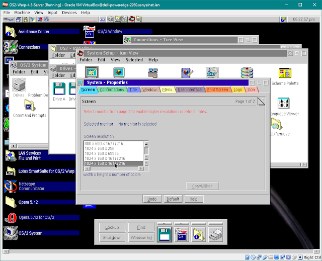 SANYALnet Labs: OS/2 Warp 4.5 SVGA True Color display 1024 x 768 24 bit colors VirtualBox on FreeBSD Host