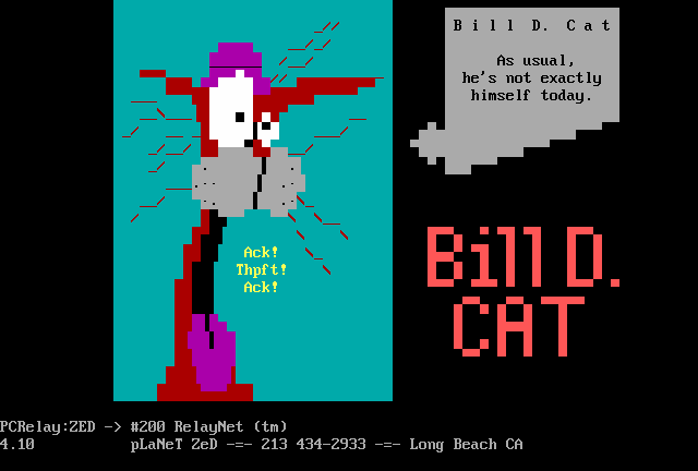 Bill the Cat from Bloom County (ansi art)