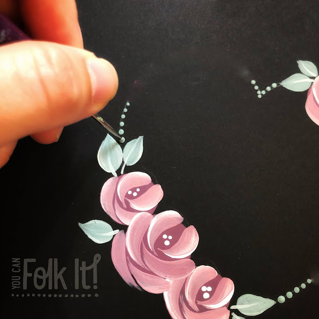 You Can Folk It Vintage Roses and dots in pink and green