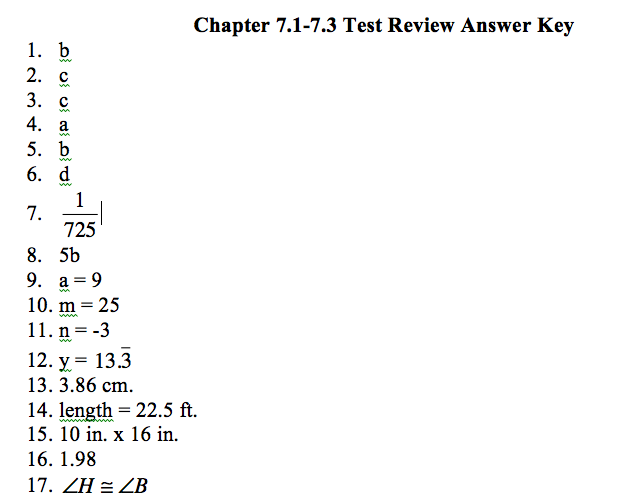 Geometry: Answer Key for Chapter 7 1-7 3 Review Packet