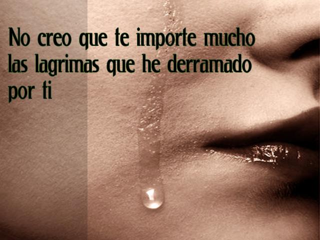 No creo que te importe mucho las lágrimas que he derramado por ti