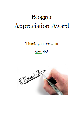The Blogger Appreciation Award!