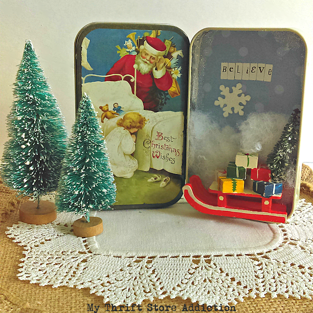Christmas tin diorama