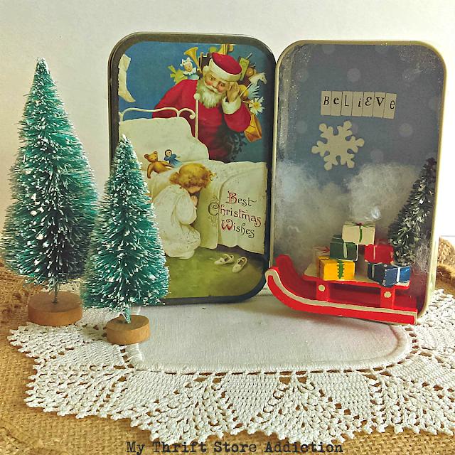 Christmas tin diorama