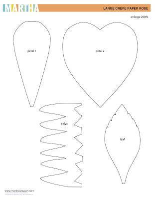 Diy crepe paper flower tutorial design improvised for Paper flower templates martha stewart