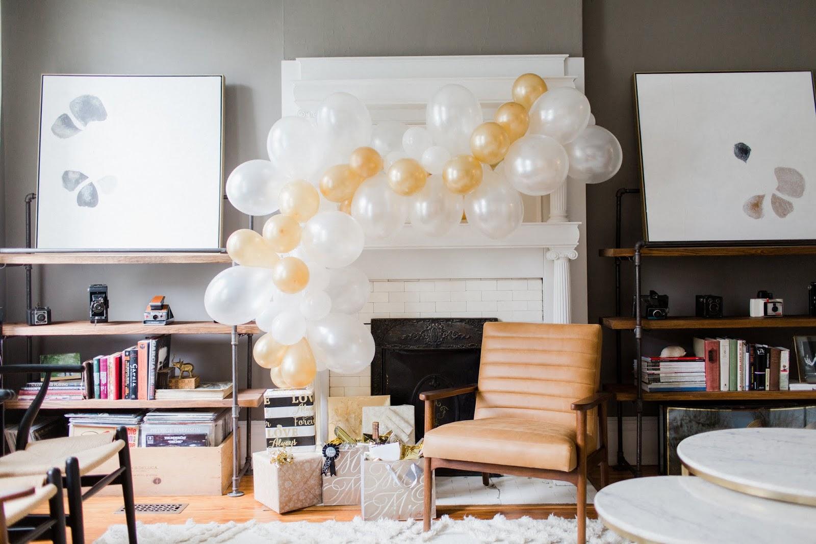 how to diy balloon garland bridal shower backdrop