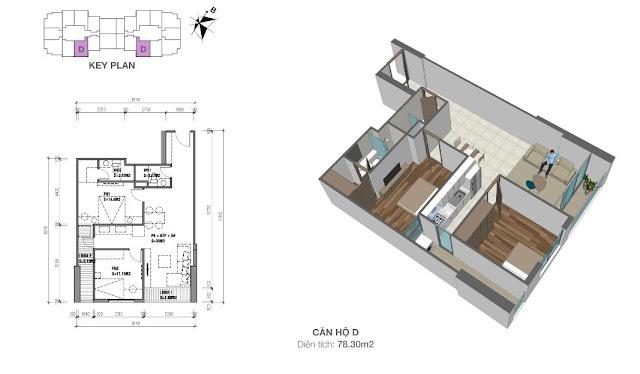 Căn hộ D có diện tích 78m2 với thiết kế 02 phòng ngủ