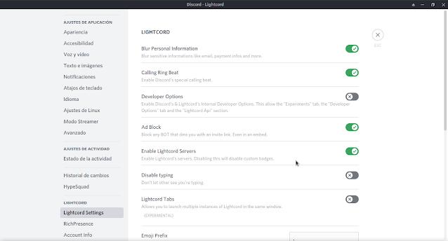 Lightcord , un cliente vitaminado de discord (linux,windows,macOS)