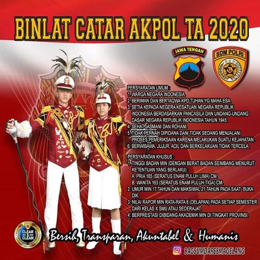 "Persyaratan Umum Pendaftaran ""CATAR"" CALON TARUNA AKPOL T.A 2020"