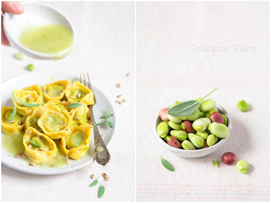 Tortellini z bobem w sosie ogórkowo-cytrynowym