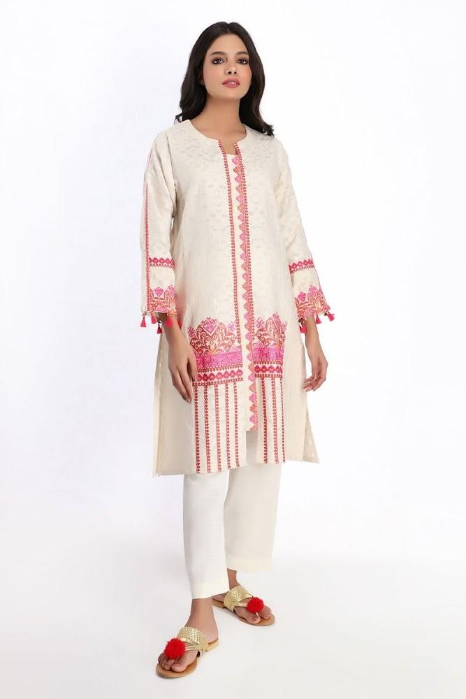 khaadi beige embroidered kurta