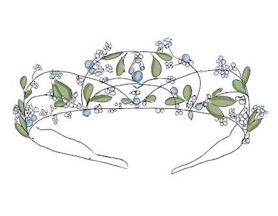 Korona/diadem z akcentami roślinnymi dla Panny Młodej.