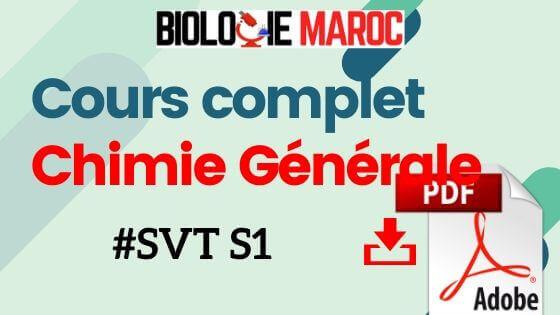 Cours de Chimie Générale SVT S1 PDF à Télécharger