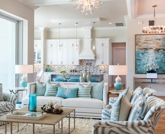 Chic Coastal Living Room In White Aqua Gray Shop The Look Coastal Decor Ideas Interior Design Diy Shopping