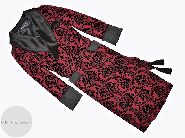 mens red black paisley silk dressing gown baroque floral robe smoking jacket vintage gentleman
