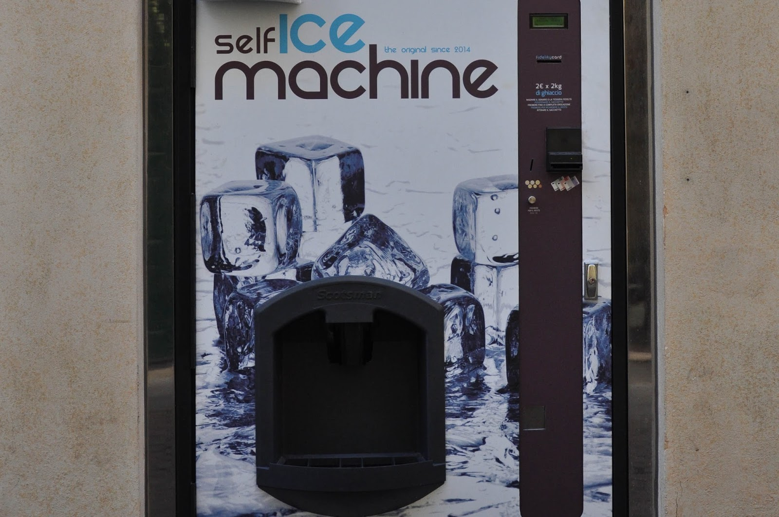 Close-up of an ice-vending machine, Vicenza, Veneto, Italy