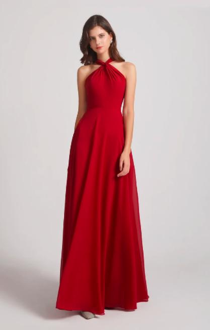 Halter Chiffon A-line Floor Length Bridesmaid Dresses