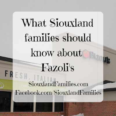 """in background, the front of the Fazoli's restaurant, including the store name and the words """"fresh"""" and Italian"""". in foreground, the words """"What Siouxland families should know about Fazoli's"""""""