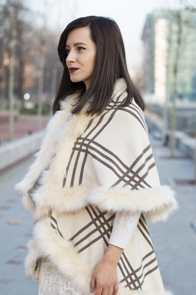 white fur cape
