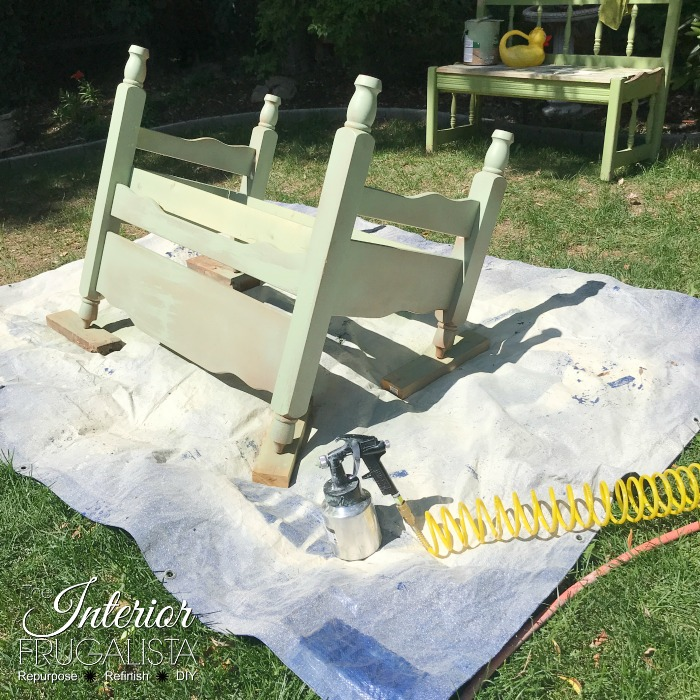How to turn an old headboard set into a relaxing outdoor garden bench for two. A budget-friendly outdoor furniture idea for a deck, patio, or porch.