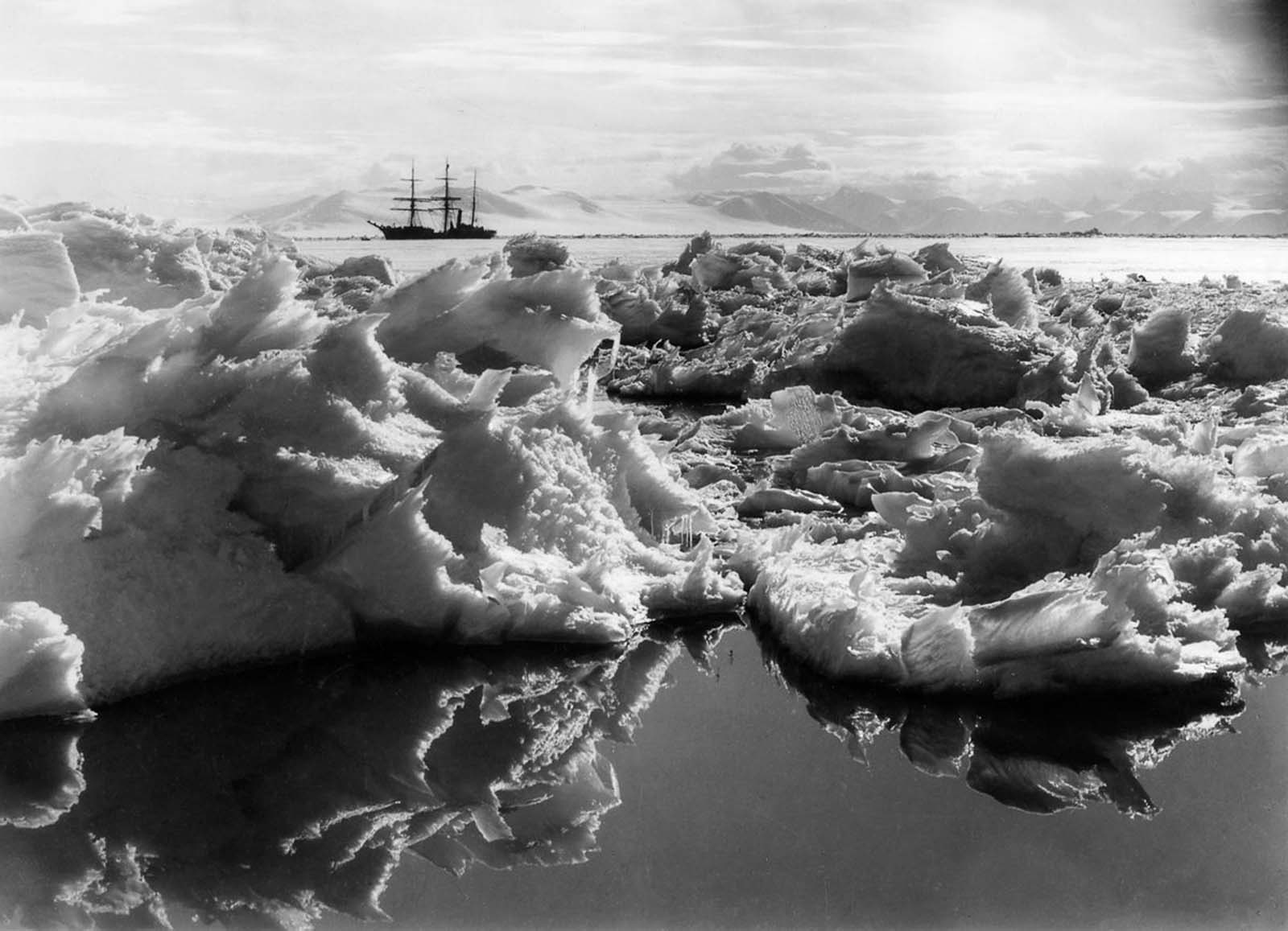 The Terra Nova anchored in McMurdo Sound. 1911.