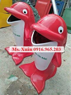 Thùng rác cá heo, thùng rác con thú