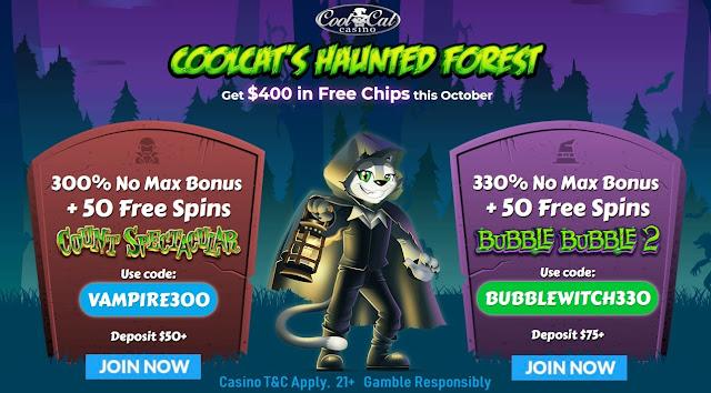 Cool Cat casino Halloween bonus offers