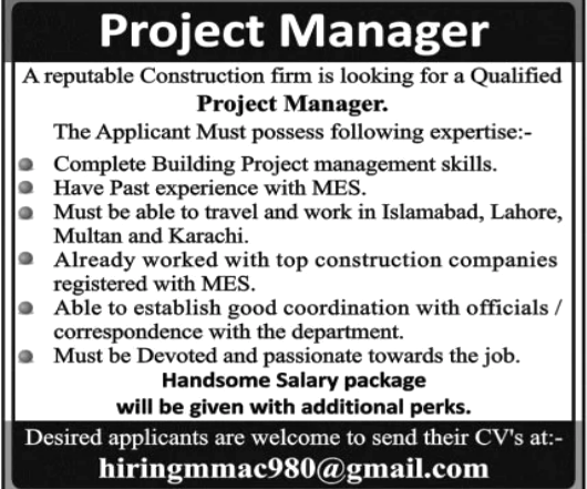 Today Project Manager Latest Jobs in Multan 2021