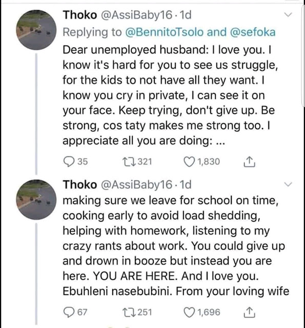Wife reacts to unemployed husband's tweet and everyone was in shock