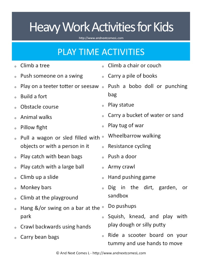 Heavy work chores for kids - great suggestions for kids with autism and/or sensory processing disorder from And Next Comes L