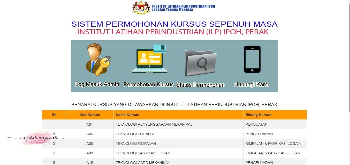 KEMASUKAN SEGERA KE INSTITUT LATIHAN PERINDUSTRIAN (ILP) IPOH SESI JANUARI 2018