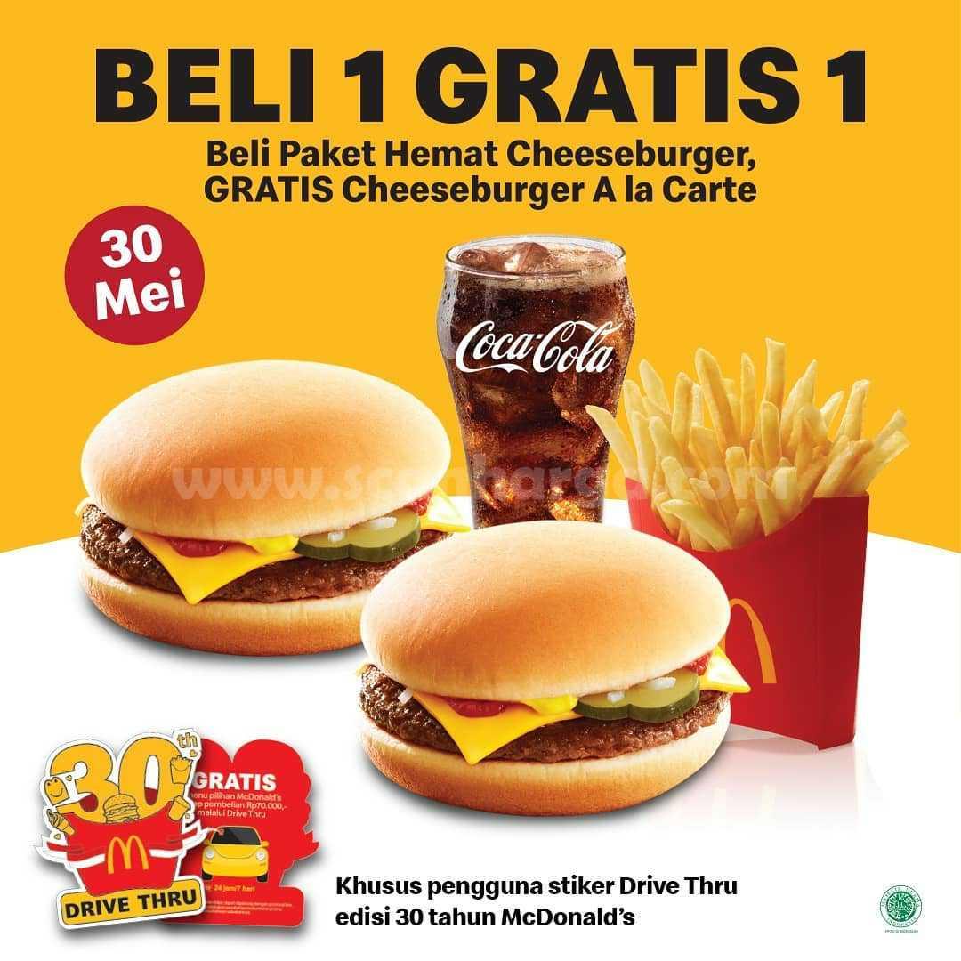 Promo McDonalds Beli 1 Gratis 1 khusus pembelian via Drive Thru