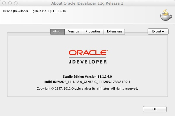 Lorenz' BLOG: Installing Oracle JDeveloper 11 1 1 6 0 on Mac OS X