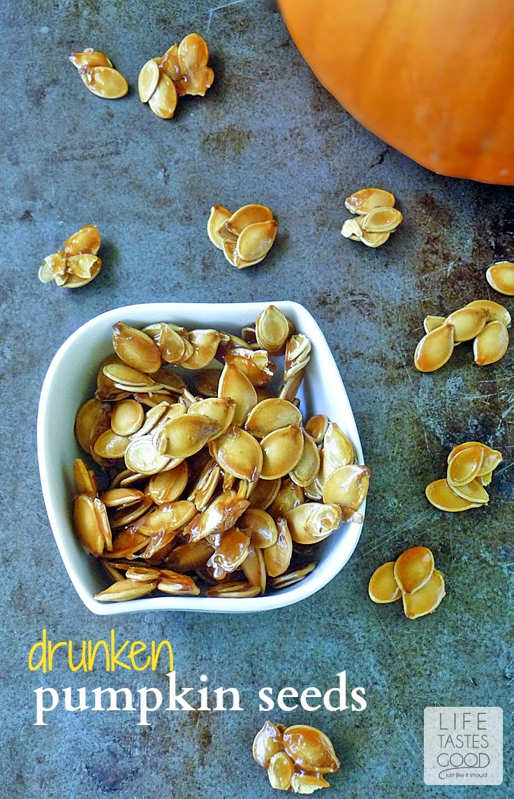 Drunken Pumpkin Seeds | by Life Tastes Good are made with Jack Daniels Whiskey, bacon drippings, brown sugar and salt. This combo makes a sweet and salty treat you'll have a hard time putting down! #PumpkinWeek #Snack