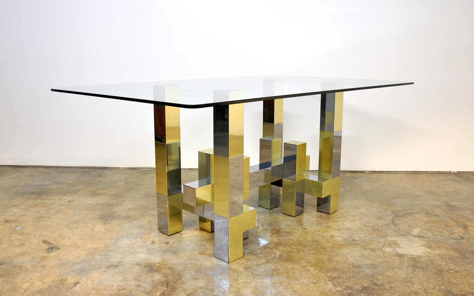 Select modern paul evans citiscape style chrome brass for Table ke design