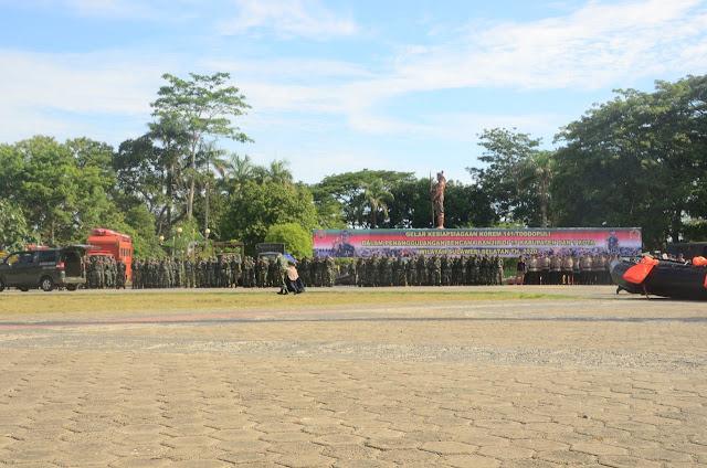 Ratusan Personel Kodim 1407 dan jajaran Korem 141/Tp Ikuti Gelar Kesiapsiagaan Bencana